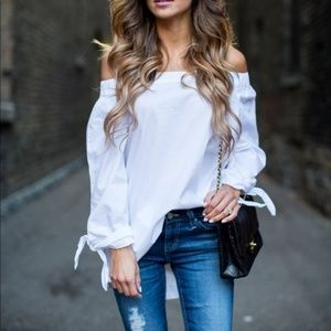 Free People Off Shoulder Cotton Blouse White Small